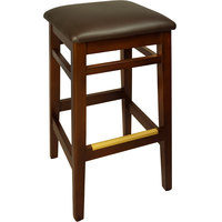 BFM Seating LWB680MHDBV Trevor Mahogany Wood Barstool with 2 inch Dark Brown Vinyl Seat