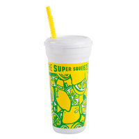 44 oz. Tall Plastic Cold Cup with Straw and Lid - 200 / Case