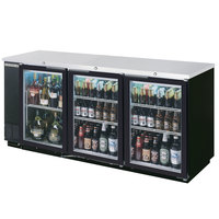 Beverage Air BB72GYF-1-B-27 72 inch Back Bar Refrigerator with Black Exterior, 3 Glass Doors, and 2 inch Stainless Steel Top - 115V