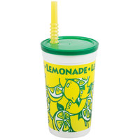 16 oz. Tall Plastic Cold Cup with Straw and Lid   - 500/Case