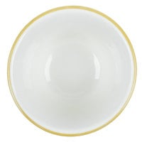 CAC SC-4G 7.25 oz. American White (Ivory / Eggshell) Scalloped Edge China Bouillon Cup with Gold Band - 36/Case