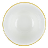 CAC SC-4G 7.25 oz. Scalloped Edge American White (Ivory / Eggshell) China Bouillon Cup With Gold Band 36/Case