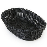 Carlisle 655003 Black 9 inch x 6 inch Woven Oval Basket - 6 / Case