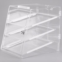 Carlisle SPD30307 18 inch x 14 inch x 17 1/2 inch Assembled Three-Tray Acrylic Self-Serve Bakery Display Case with Front and Back Door