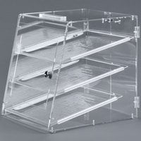 Carlisle SPD303KD07 18 inch x 14 inch x 17 1/2 inch Unassembled Three-Tray Acrylic Self-Serve Bakery Display Case with Front and Back Door