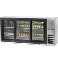 Beverage Air BB78GF-1-S 78 inch Stainless Steel Food Rated Glass Door Back Bar Cooler with Three Doors - 33 Cu. Ft.