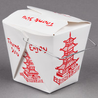 Fold-Pak 32WHPAGODM 32 oz. Pagoda Chinese / Asian Paper Take-Out Container with Wire Handle - 100 / Pack