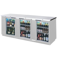 Beverage Air BB94GF-1-S 94 inch Stainless Steel Food Rated Glass Door Back Bar Cooler with Three Doors - 39.7 Cu. Ft.