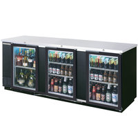 Beverage Air BB94GF-1-B-PT 94 inch Black Food Rated Pass-Through Back Bar Cooler with Six Glass Doors - 39.7 Cu. Ft.
