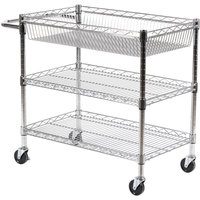 Luxor / H. Wilson LICWT2918 Three Shelf Wire Mail Cart Adjustable - 18 inch x 30 inch x 30 inch
