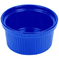 Tablecraft CW1620BL 1 Qt. Cobalt Blue Cast Aluminum Souffle Bowl with Ridges