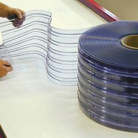 Curtron QSRIP-12X10-OSDR 12 inch x 123 inch Ribbed Pre-Cut Replacement Door Strips - 7 Strips / Roll
