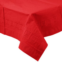 Creative Converting 711031B 54 inch x 108 inch Classic Red Tissue / Poly Table Cover - 24 / Case