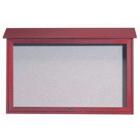 Aarco 30 inch x 45 inch Redwood Outdoor Plastic Lumber Message Center with Vinyl Tackboard - Single Top Hinged Door