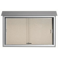 Aarco 30 inch x 45 inch Light Gray Outdoor Plastic Lumber Message Center with Vinyl Tackboard - Sliding Door
