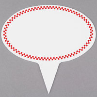Oval Write On Deli Sign Spear with Red Checkered Border