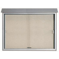 Aarco 40 inch x 52 inch Light Gray Outdoor Plastic Lumber Message Center with Vinyl Tackboard - Sliding Door