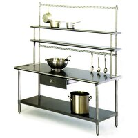 Eagle Group T3048B-FM-PL 30 inch x 48 inch Stainless Steel Work Table with Flex-Master Overshelf Kit and Pot Racks