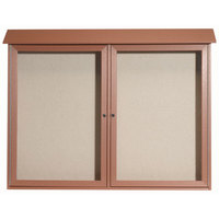 Aarco 40 inch x 52 inch Cedar Outdoor Plastic Lumber Message Center with Vinyl Tackboard - Dual Hinged Doors