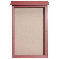 Aarco 48 inch x 32 inch Rosewood Outdoor Plastic Lumber Message Center with Vinyl Tackboard - Single Hinged Door