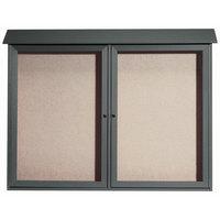 Aarco 40 inch x 52 inch Green Outdoor Plastic Lumber Message Center with Vinyl Tackboard - Dual Hinged Doors