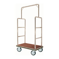 Aarco Rectangular Stainless Steel Chrome Finish Luggage Cart with Clothing Rail - 42 inch x 24 inch x 72 inch