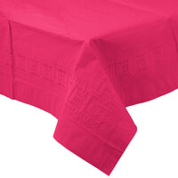 Creative Converting 710205B 54 inch x 108 inch Hot Magenta Tissue / Poly Table Cover - 24 / Case