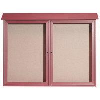 Aarco 40 inch x 52 inch Rosewood Outdoor Plastic Lumber Message Center with Vinyl Tackboard - Dual Hinged Doors