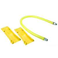 T&S HG-4D-60-PS 60 inch Safe-T-Link Coated Gas Connector Hose with Swivel Fittings, Quick Disconnect, 90 Degree Elbows, and POSI-SET Wheel Placement System