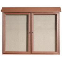 Aarco 36 inch x 45 inch Cedar Outdoor Plastic Lumber Message Center with Vinyl Tackboard - Dual Hinged Doors