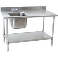 "Eagle Group T3048SEB-BS-E23 30"" x 48"" Stainless Steel Deluxe Work Table with Sink"