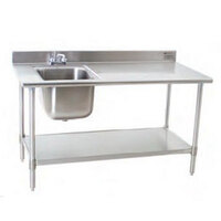 Eagle Group T3060SEB-BS-E23 30 inch x 60 inch Stainless Steel Deluxe Work Table with Sink