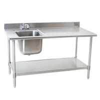 Eagle Group T3096SEB-BS-E23 30 inch x 96 inch Stainless Steel Deluxe Work Table with Sink