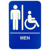 9 inch x 6 inch Blue and White Men Sign with Braille