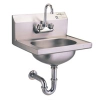 Eagle Group HSA-10-FA-MG MicroGard Hand Sink with Gooseneck Faucet, P-Trap, Tail Piece, and Basket Drain