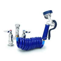 T&S PG-8DREV Deck Mount Pet Grooming Faucet with 8 inch Centers, Aluminum Spray Valve, 9' Coiled Hose, and Vacuum Breaker