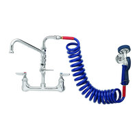 T&S PG-8WSAV-06 Wall Mount Pet Grooming Faucet with 8 inch Centers, 6 inch Add On Nozzle, Aluminum Spray Valve, 9' Coiled Hose, and Vacuum Breaker