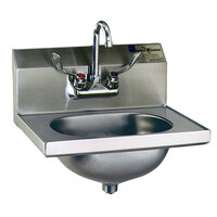 Eagle Group HSA-10-FW Hand Sink with Gooseneck Faucet, Wrist Action Handles, and Basket Drain