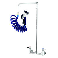 T&S PG-8WOAV-06 Wall Mount Pet Grooming Faucet with 8 inch Centers, 6 inch Add On Nozzle, Aluminum Spray Valve, 9' Coiled Hose, 6 inch Wall Bracket, Overhead Swing Assembly, and Vacuum Breaker