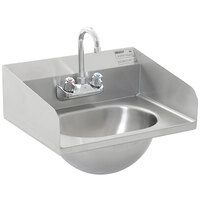 Eagle Group HSA-10-F-LRS Hand Sink with Gooseneck Faucet, Side Splashes, and Basket Drain