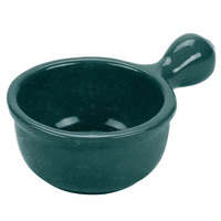 Tablecraft CW3375HGNS 18 oz. Hunter Green with White Speckle Cast Aluminum Soup Bowl with Handle