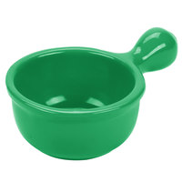 Tablecraft CW3375GN 18 oz. Green Cast Aluminum Soup Bowl with Handle
