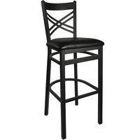 BFM Seating 2130BBLV-SB Akrin Metal Barstool with 2 inch Black Vinyl Seat