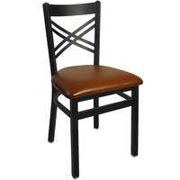 BFM Seating 2130CLBV-SB Akrin Metal Chair with 2 inch Light Brown Vinyl Seat