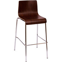 BFM Seating JA600BS-MH Abby Mahogany Laminate Barstool with Chrome Frame