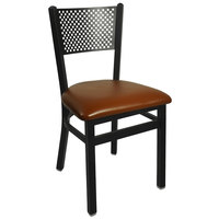BFM Seating 2161CLBV-SB Polk Sand Black Steel Side Chair with 2 inch Light Brown Vinyl Seat