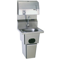 Eagle Group HSA-10-FDPEE-B-T Hand Sink with Gooseneck Faucet, Towel Dispenser, Electronic Soap Dispenser, Waste Receptacle, Skirt, and Basket Drain