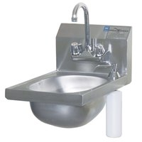 Eagle Group HSAN-10-F-DS 17 3/4 inch x 12 1/8 inch Hand Sink with Gooseneck Faucet, Deck Mount Soap Dispenser, and Basket Drain