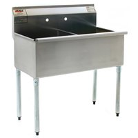 Eagle Group 2448-2-16/3 Two Compartment Stainless Steel Commercial Sink without Drainboard - 49 3/8 inch