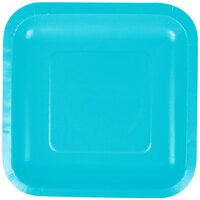 Creative Converting 453552 7 inch Bermuda Blue Square Paper Lunch Plate - 180/Case